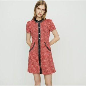 2019 Maje Renati Red Tweed Button Front Dress